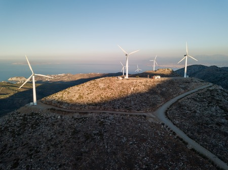 Windmills for electric power aerial drone shot