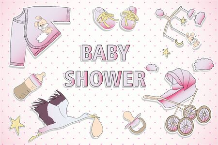 Holiday card design for Baby shower. A girl is on the way Çizim