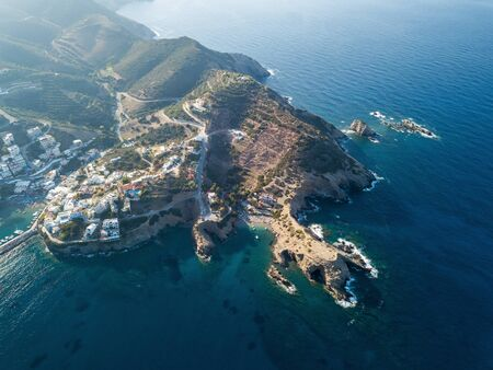 Aerial photo of a small beach in Bali village. Crete, Greece