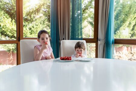 Cute children eating fresh ripe strawberries at home