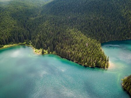 Aerial photo of the Black Lake in National park Durmitor Banco de Imagens