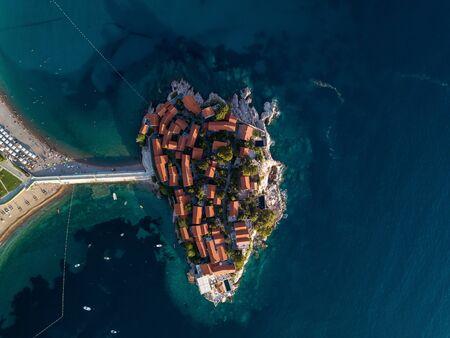 Aerial photo of Sveti Stefan island in Budva