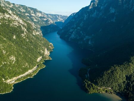 Aerial photo of Piva Lake in Montenegro Banco de Imagens
