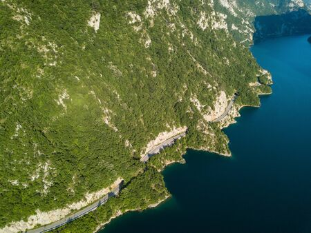 Aerial photo of Piva Lake in Montenegro 写真素材