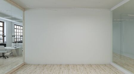 Large white empty wall in a meeting room. 3d rendering