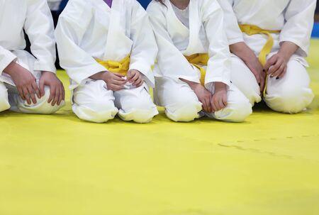 Children in kimono and yellow belts sitting on tatami Standard-Bild