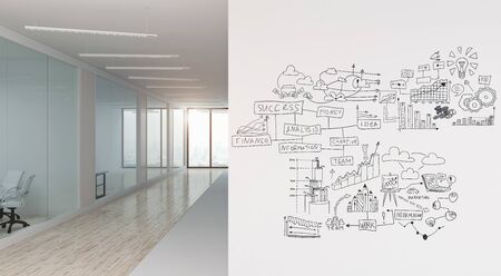 A modern office with creative business strategy sketch drawn on white wall Фото со стока