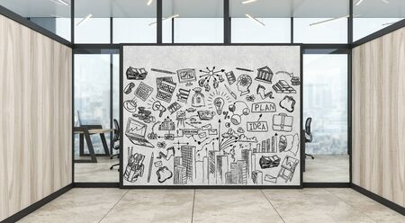 A modern office with creative business strategy sketch drawn on white wall Foto de archivo