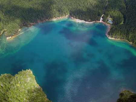 Aerial photo of the Black Lake in National park Durmitor Foto de archivo