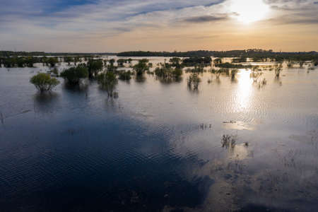 Scenic aerial view of high water in spring time Foto de archivo