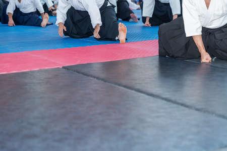 People in kimono on aikido training seminar Foto de archivo
