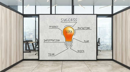 A modern office with creative business strategy sketch drawn on white wall. 3d illustration
