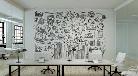 A modern office with creative business strategy sketch drawn on white wall Archivio Fotografico