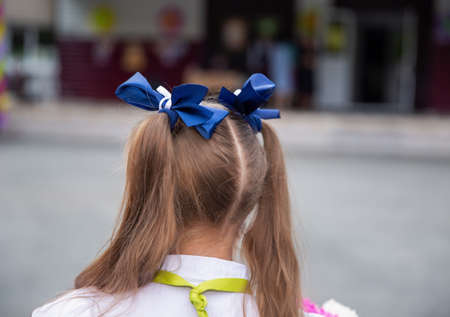 Two braids with blue bows hairstyle schoolgirl holiday Archivio Fotografico