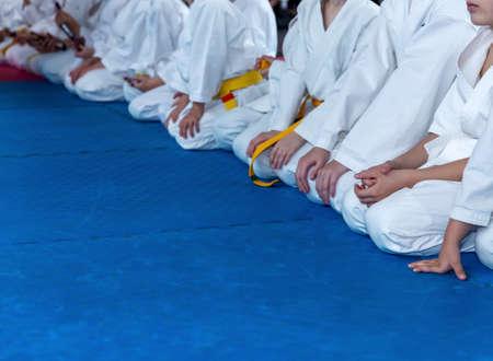 Children in kimono are sitting on tatami