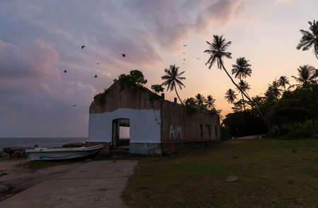 A tropical island with palm trees and ruined by tsunami house. Sri Lanka