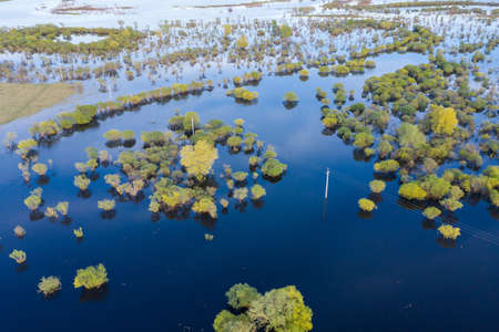 Scenic aerial view of high water in spring time Stockfoto