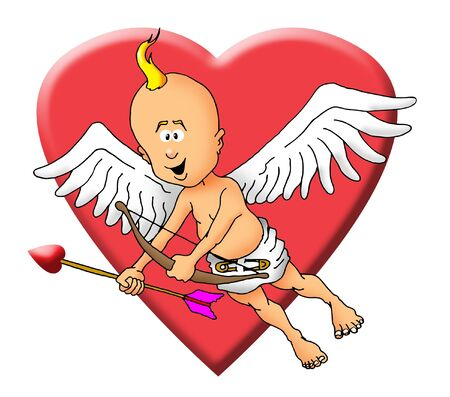 Image of a cupid with a bow and an arrow.
