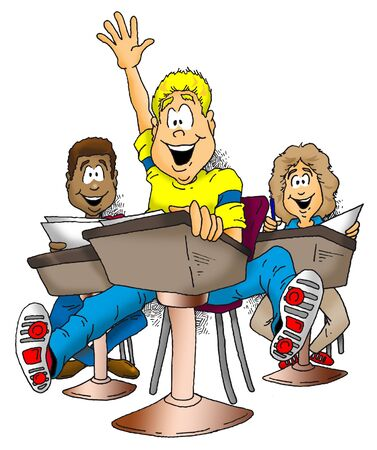 Image of an exited child raising his hand in class. Stock fotó