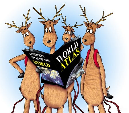 lost world: A group of lost reindeer consulting a World Atlas.