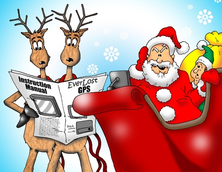 Image of Santa with Reindeer and an Elf trying to figure out a GPS. photo