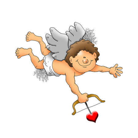 Image of a cupid about to shoot an arrow. Stock fotó
