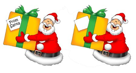 Image of a happy Santa presenting a gift. With and without a blank gift tag.