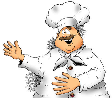 food plate: Illustration of a Chef making a presentation. Stock Photo