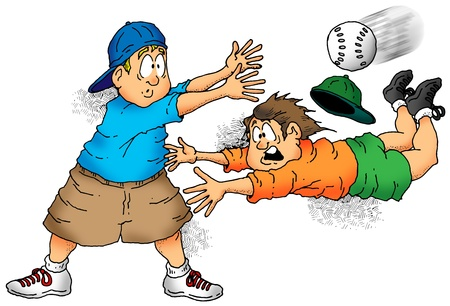 Illustration of a softball player trying to make a tag. illustration