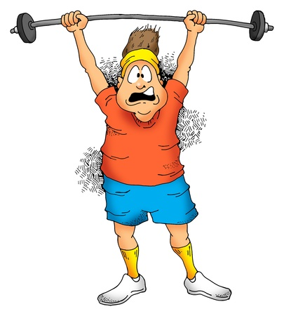 Image of a Man struggling to lift a barbell Stock fotó