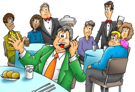 rude: Illustration of an rude man talking on a cellphone in a restaurant.