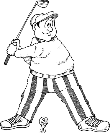 cartoon golf: Image of a golfer about to take a tee shot.