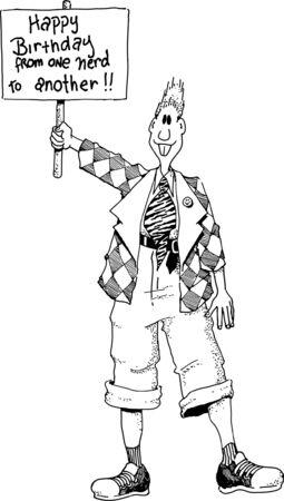 Illustrazione di un nerd con un cartello di buon compleanno.  Archivio Fotografico - 8804921