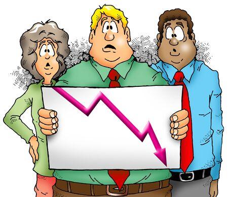 非常に残念な販売チャートを表示する実業家のグループ 写真素材