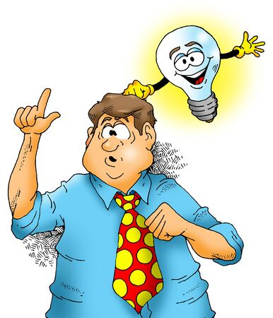 Illustration of a lightbulb knocking on a mans head giving him an idea.