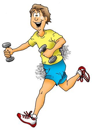 running: Cartoon image of a man jogging with dumbbells.