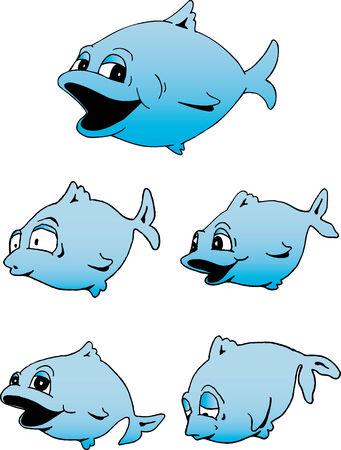 Illustration of a really cute blue fish. Illusztráció