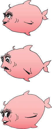Illustration of a really cute pink fish