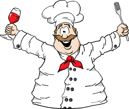 kulinarne: Illustration of a happy Chef holding a glass of wine and a fork Ilustracja