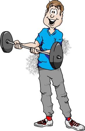 Cartoon illustration of a man doing barbell curls