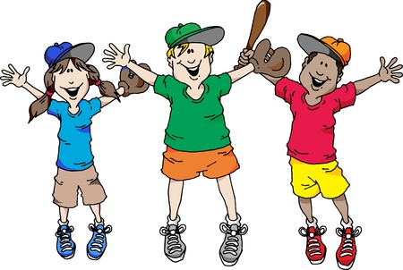 pitcher: Illustration of a group of kids happy that baseball is back.