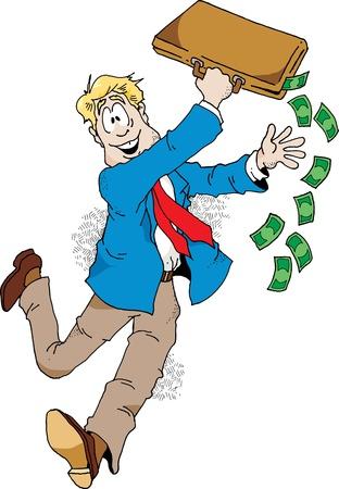 Illustration of an excited salesman who has just made a big sale. Illusztráció
