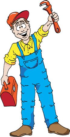 Cartoon of a happy plumber Stock Illustratie
