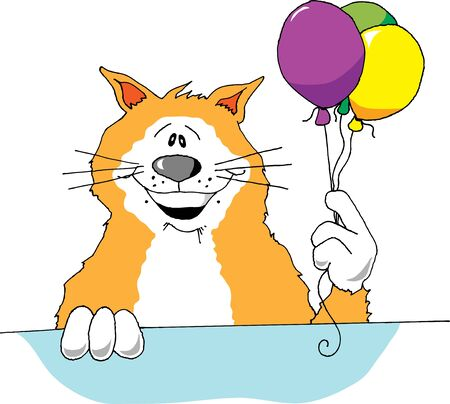humor: Cartoon image of a cat holding 3 balloons. Illustration