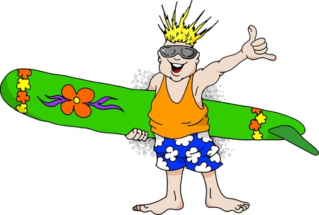 wind surfing: Cartoon image of a very happy man with a surfboard.