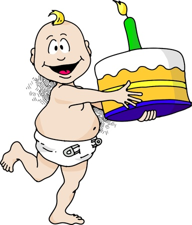 Cartoon image of a baby running with a birthday cake. Stock Vector - 9584485