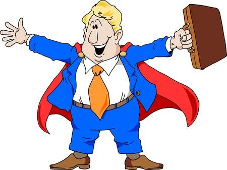 sales person: Cartoon illustration of an excited salesman wearing a super hero cape.