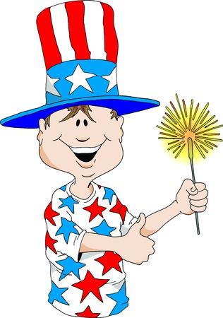 Cartoon image of a boy wearing a Uncle Sam hat holding a sparkler. Illusztráció