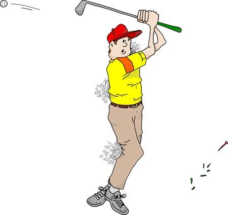 핸디캡: Cartoon image of a very bad golfer. 일러스트