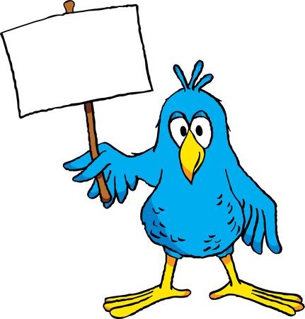 pajaro caricatura: Aves de dibujos animados lindo sosteniendo un cartel en blanco.
